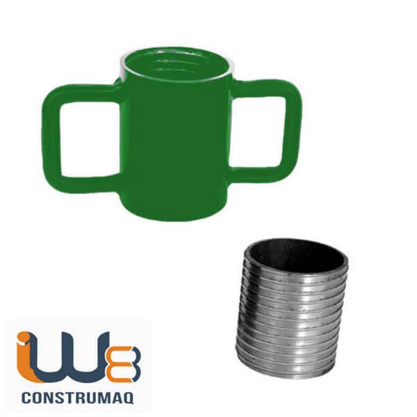 Kit para Escora Metálica Caneca com Alça de Ferro + Rosca Verde