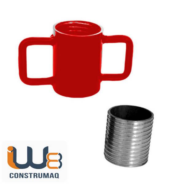 Kit para Escora Metálica Caneca com Alça de Ferro + Rosca Vermelho
